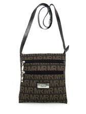 ZIPPERED CANVAS CROSS BODY MONOGRAM DESIGN BLACK TAN