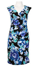 NWT Jessica Howard Black/Blue Floral Jersey Dress - Size US 10  (AU 12)