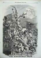 Old Antique Print 1856 Christmas Characters Children People Trees Bible 19th