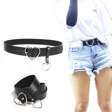 Black PU Leather Belt Women Metal Heart Waistband Buckle Belt Party Dress Decor