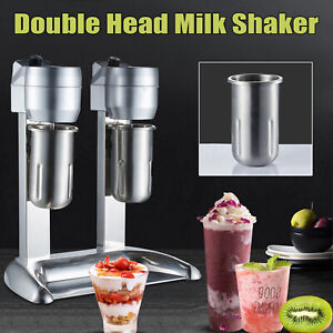 300W Commercial Milk Shake Machine Double Head Drink Mixer Blender 1000m Cup US