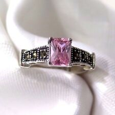 925 STERLING SILVER 3 MARCASITE AND PINK CZ SET  RING SIZE 6