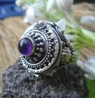 925 Solid Silver Balinese Poison Locket Ring Round Amethyst Cab Size 8-H116