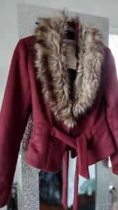 Chic Wine Light Wool Blend Faux Fur Belted Jacket - Small