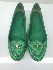 Tory Burch Womens Leather Casual Slip On Flat Green Russell Loafer Size 10 M