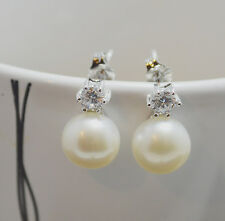 8-9mm Freshwater Pearl 925 Sterling Silver PL 6 Claw Stud Earrings 4mm 0.25ct CZ