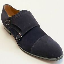 HUGO BOSS ITALY Double Monk Strap Men's Blue Suede Leather Dress Formal Oxford