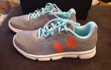 New Girls Gray & Orange Under Armour Micro Speedswift 1 Tennis Shoes, 5