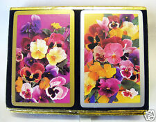 Double Deck of Bridge Playing Cards PANSIES by Congress Black Velvet Case
