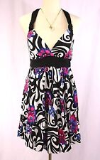 Candies Black White Multi Swirl Floral Empire Waist Sundress Dress - M - Halter