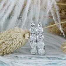 Earrings In Solid 14K White Gold 1.35Ct Round Cut Diamond Huggie Hoop