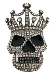 Skull Belt Buckle Gothic Tattoo Halloween Metal Rhinestones Bling Out Gunmetal