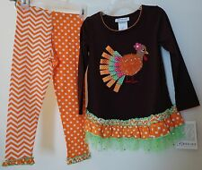 BNWT ~ Bonnie Jean Tulle/Ribbon Turkey Thanksgiving Outfit ~ Size 5 yr.
