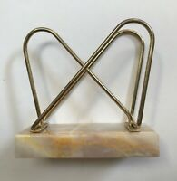 Vintage Atomic Style Retro Metal and Marble Letter Holder