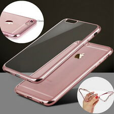 iPhone 6 6S ROSE GOLD Color Bumper Silicone Clear TPU Slim Back Cover Case