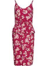 Schößchenkleid 48 50 rot bunt bedruckt Jersey Minikleid Trägerkleid neu