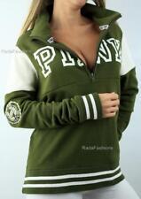 Victoria's Secret PINK Boyfriend Half Zip Mockneck Logo Fleece Stripe Sweatshirt