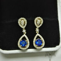 Natural Diamond Round Blue Sapphire Drop Earrings Solid 14K Yellow Gold Jewelry