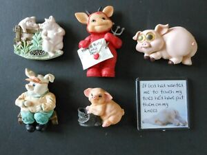 Job Lot x6 Novelty Pig fridge magnets various designs good condition (set 4)