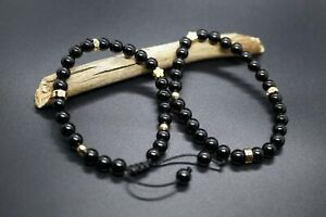 Black Round Tourmaline Beaded Bracelet With Gold-filled 7'' Gift for Her 6mm