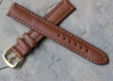 Vintage 16mm watch strap medium brown leather classic color all-stitched NOS
