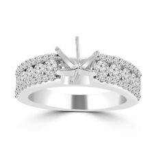 1.09 ct Ladies Three Row Round Cut Diamond Semi Mounting Ring 14 kt White Gold