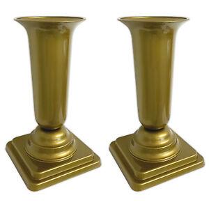 2x Friedhofsvase Gold Grabschmuck Grabvase mit Sockel Grabsteckvase Kunststoff