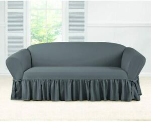 SURE FIT Essential Twill One Piece Ruffled Box Cushion Sofa Slipcover Gray