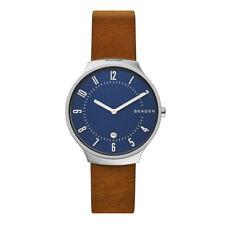 Skagen Grenen Brown Leather Watch Band 40mm Mens SKW6457