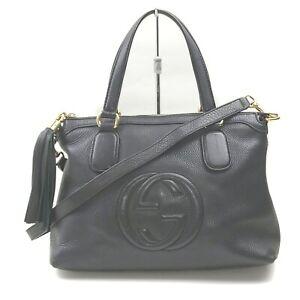 Gucci Hand Bag Soho Black Leather 707687
