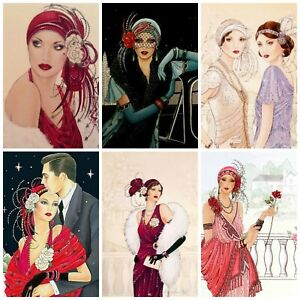 LADIES ART DECO Card Making Toppers, Card Toppers (12)