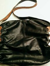 Vintage Large Black Leather Shoulder Bag from Argentina