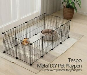 """12 Panels Portable Metal Dog Pet Playpen Animal Crate Cage Fence Indoor 15x12"""""""