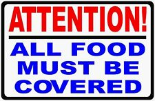 Attention All Food Must Be Covered Sign. Size Options. Catering Signs Restaurant