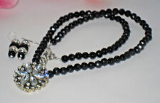 Necklace Black Beads with Rhinestone Pendant and Matching Earrings