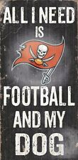 """TAMPA BAY BUCCANEERS FOOTBALL & my DOG WOOD SIGN and ROPE 12"""" X 6""""  NFL MAN CAVE"""