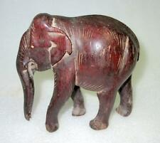 Antique Old Hand Carved Rose Wood Decorative Walking Elephant Figurine Statue