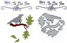 Dies...to die for metal cutting craft die Bird on a Branch - Oak Leaves