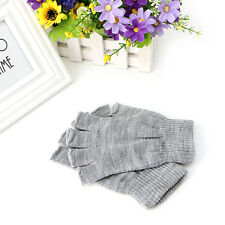 1 Pair Knitted Stretch Half Finger Fingerless Gloves Winter Soft Warm Elastic