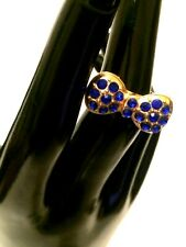 Womens Statement Big Large Gold Blue Crystal BOW TIE Ring Adjustable Thumb