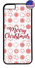 White Snow Flakes Merry Christmas Rubber Case Cover For iPhone 8 7 Plus 6 5 4 X