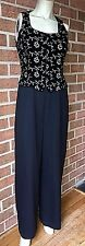 Vintage ANN TAYLOR Sleeveless Embroidered Top One-Piece Pants Jumpsuit Black 8