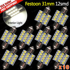 10x 6000K White 12SMD LED MAP/DOME INTERIOR LIGHTS BULBS/BULB 31MM FESTOON 1.22""