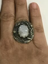 925 Sterling Silver ring with Rainbow Moonstone unique handcrafted Sz8/25.6grams