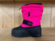 POLO RALPH LAUREN RAINBOOT WHISTLER BLACK PINK WATERPROOF BOOTS PS SZ 11-3 95285
