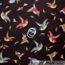 BonEful Fabric FQ Cotton Brown Red Blue Fly Bird Nature Feather Fall Leaf Flower