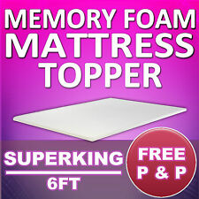 MEMORY FOAM MATTRESS TOPPER - SUPERKING 6FT SIZE - FREE AND FAST DELIVERY