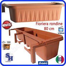 NOVITA' VASO FIORIERA RONDINE PLASTICA RETTANGOLARE DA BALCONE REGOLABILE 80 CM