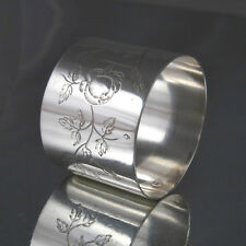 "Antique French Sterling Silver Napkin Ring, ""Roses"", Hallmark,Rudolphe Beunke"