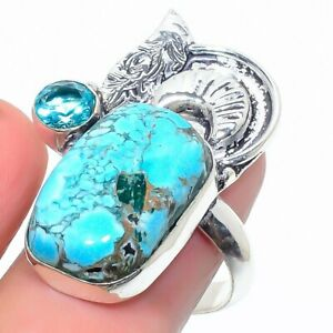 Tibetan Turquoise, Blue Topaz 925 Sterling Silver Jewelry Ring Size 9.5 u192